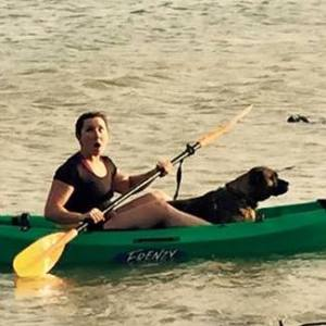dog in a kayak